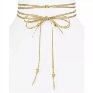 Chan Luu Crystal Accent Ribbon Choker Necklace